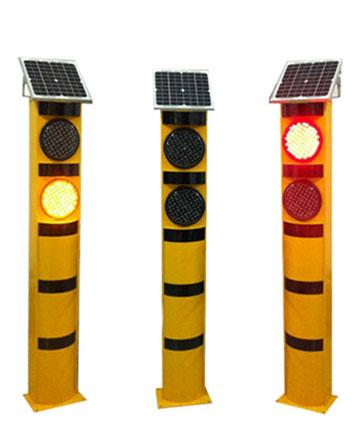 太阳能红黄闪灯警示柱 (可定制)