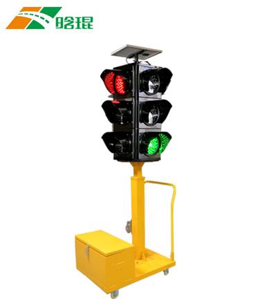 红黄绿三头满屏太阳能移动信号灯